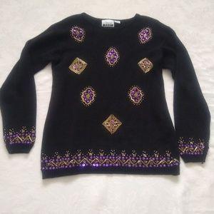 Vintage sequins beads diamond embellished sweater
